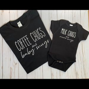 Coffee Chugs And Baby Snugs Mommy&me soft tee